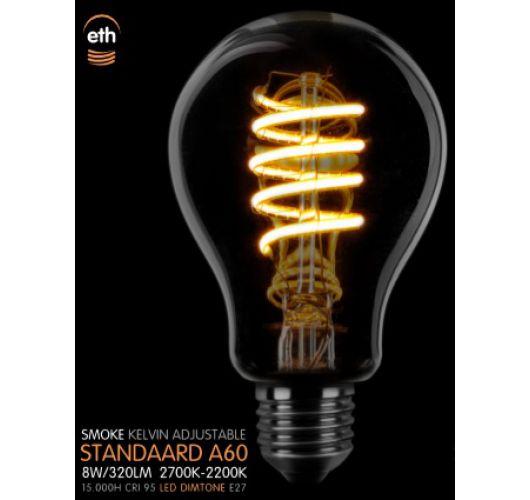 Led Spiraal A60 Standaard  E27 8W Dimtone | Smoke Ledlampen
