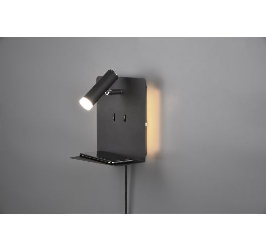 Wandlamp - Bedlamp - Element - USB - LED - Zwart Bedlampen