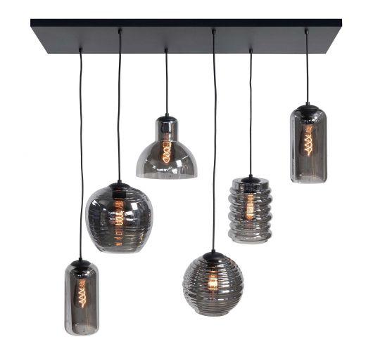 Highlight Hanglamp Fantasy 6 Lichts | Rookglas Hanglampen