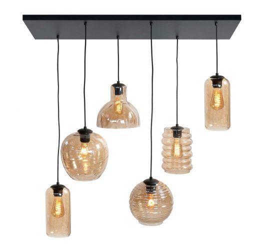 Highlight Hanglamp Fantasy 6 Lichts | Amber Glas Hanglampen
