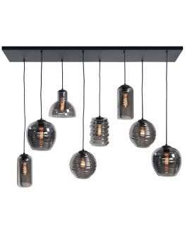 Tweede Kans | Highlight Hanglamp Fantasy 8 Lichts | Rookglas