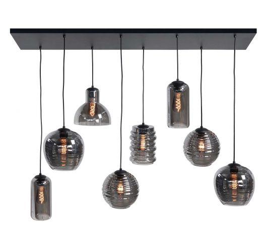 Highlight Hanglamp Fantasy 8 Lichts | Rookglas Hanglampen