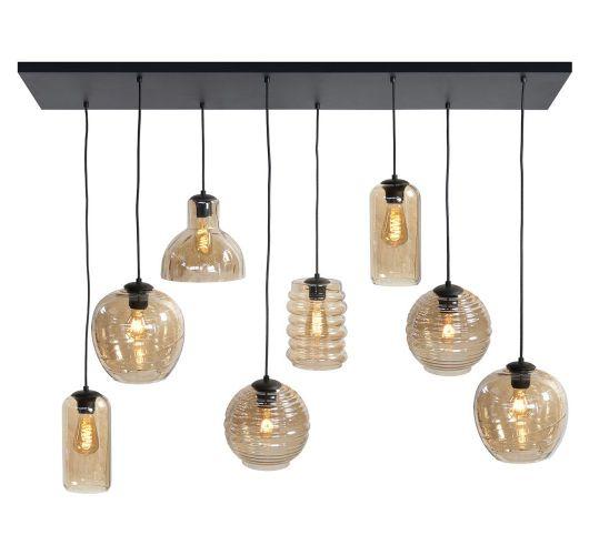 Highlight Hanglamp Fantasy 8 Lichts | Amber Glas Hanglampen