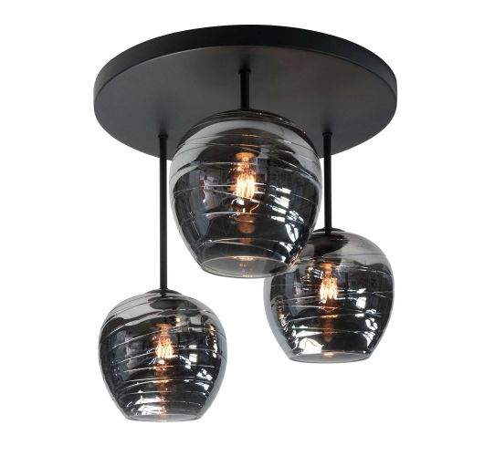 Highlight Plafondlamp Fantasy 3 Lichts | Rookglas Plafonnières