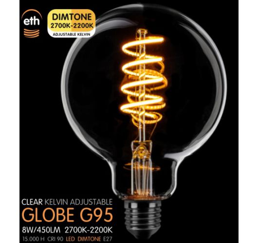 Led Spiraal 95MM Helder 8W | Dimtone 2700K - 2200K Ledlampen