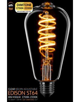 Led Spiraal ST64 Edison Helder 8W | Dimtone 2700K - 2200K