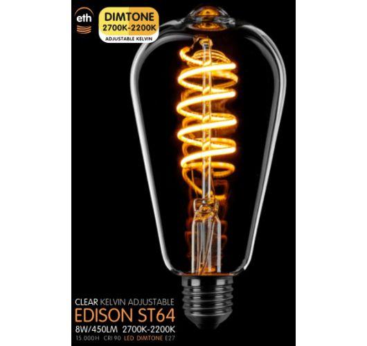 Led Spiraal ST64 Edison Helder 8W | Dimtone 2700K - 2200K Ledlampen