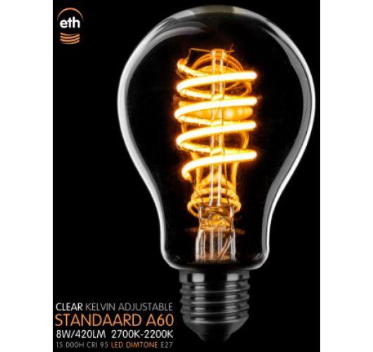Led Spiraal Standaard Helder | 8W | Dimtone 2700K naar 2200K Ledlampen