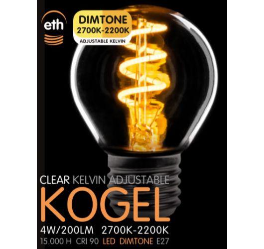 Led Spiraal Kogel Helder 4W   Dimtone 2700K - 2200K Ledlampen