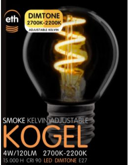Led Spiraal Kogel Smoke 4W | Dimtone 2700K - 2200K