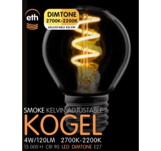 Led Spiraal Kogel Smoke 4W | Dimtone 2700K - 2200K Ledlampen