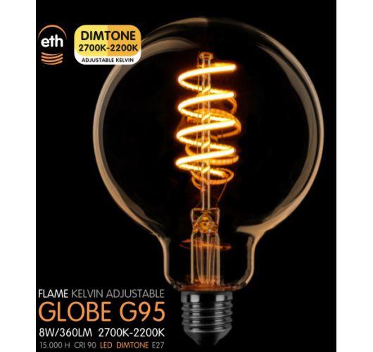 Led Spiraal 95MM Goud 8W   Dimtone 2700K - 2200K Ledlampen