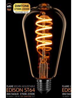 Led Spiraal ST64 Edison Goud 8W | Dimtone 2700K - 2200K
