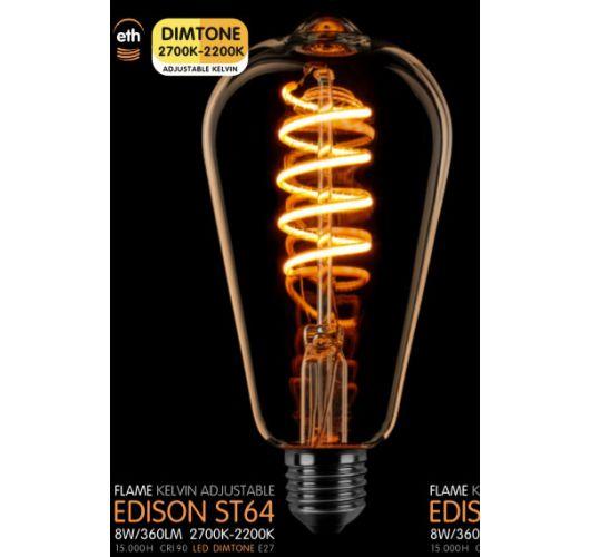 Led Spiraal ST64 Edison Goud 8W | Dimtone 2700K - 2200K Ledlampen