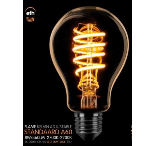 Led Spiraal Standaard Goud 8W   Dimtone 2700K - 2200K Ledlampen