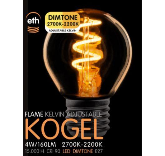 Led Spiraal Kogel Goud 4W | Dimtone 2700K - 2200K  Ledlampen