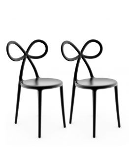 Qeeboo Ribbon Chair Black Set van 2 stuks