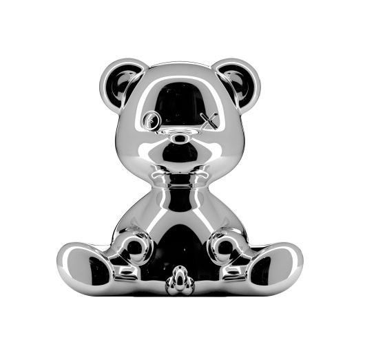 Qeeboo Teddy Boy Metal lamp indoor plug - Silver Tafellampen