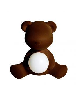 Qeeboo Teddy Girl Velvet LED lamp - Dark Brown