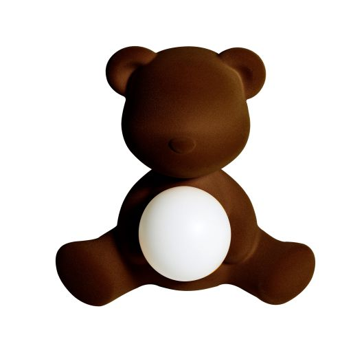 Qeeboo Teddy Girl Velvet LED lamp - Dark Brown Tafellampen