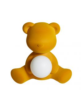 Qeeboo Teddy Girl Velvet LED lamp - Dark Gold