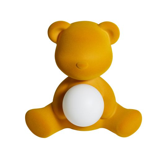 Qeeboo Teddy Girl Velvet LED lamp - Dark Gold Tafellampen