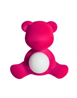 Qeeboo Teddy Girl Velvet LED lamp - Fuxia