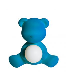 Qeeboo Teddy Girl Velvet LED lamp - Light Blue