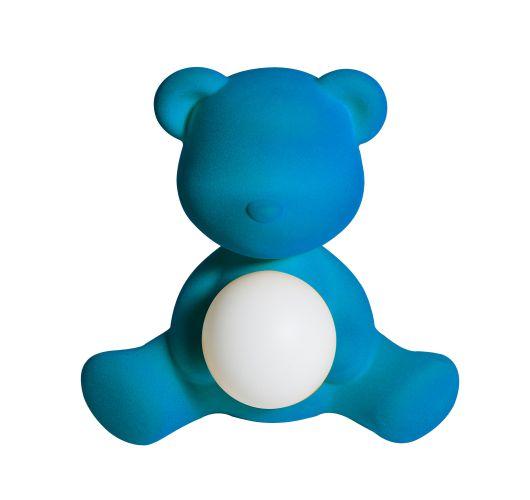 Qeeboo Teddy Girl Velvet LED lamp - Light Blue Tafellampen