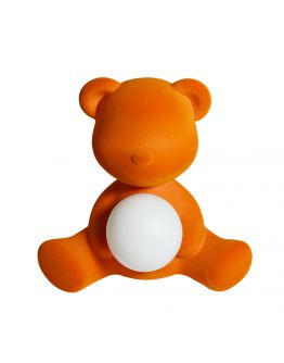 Qeeboo Teddy Girl Velvet LED lamp - Orange