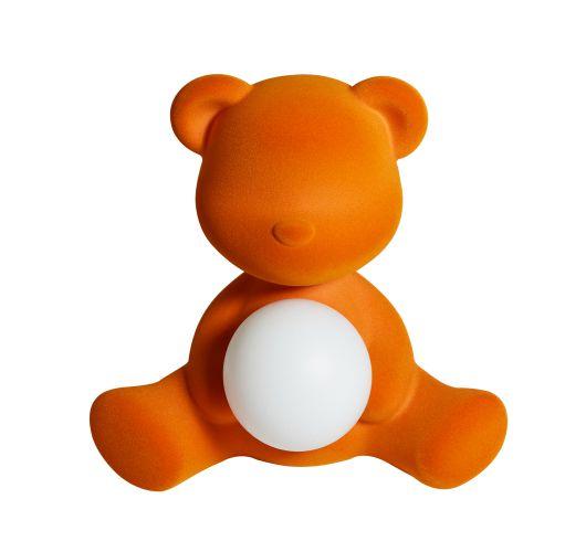 Qeeboo Teddy Girl Velvet LED lamp - Orange Tafellampen