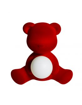 Qeeboo Teddy Girl Velvet LED lamp - Red