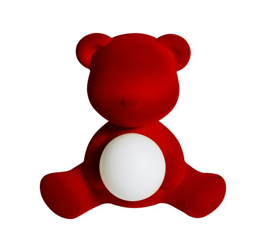 Qeeboo Teddy Girl Velvet LED lamp - Red