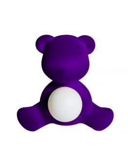 Qeeboo Teddy Girl Velvet LED lamp - Violet