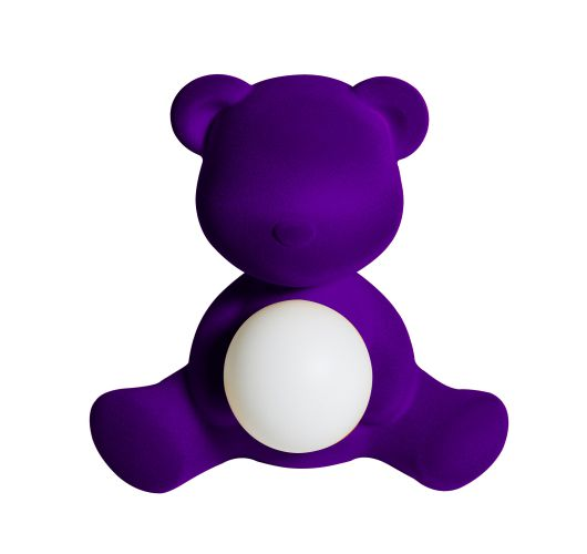 Qeeboo Teddy Girl Velvet LED lamp - Violet Tafellampen