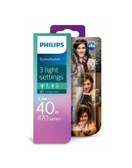 Philips SceneSwitch LED Kaarslamp Helder | 5.5w = 40w | 3 Standen 40w/20w/10w | 2700K