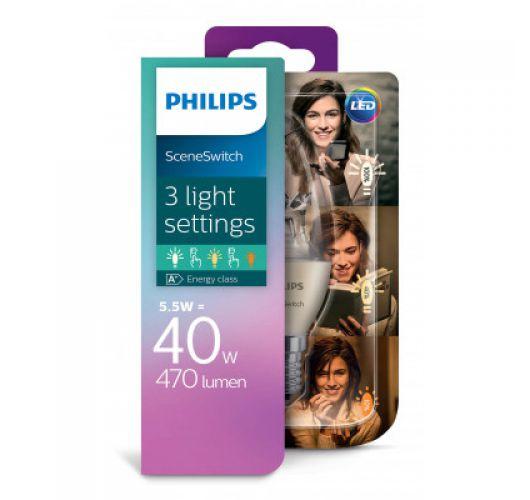 Philips SceneSwitch LED Kaarslamp Helder | 5.5w = 40w | 3 Standen 40w/20w/10w | 2700K  LED-lampen