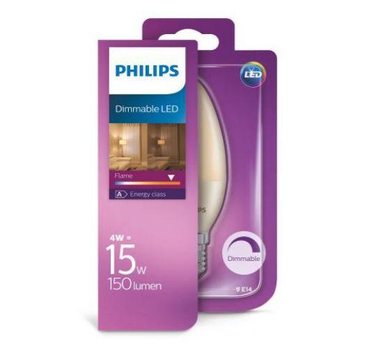 Philips LED Kaars 4W(=15W) E14 Flame | Dimbaar Ledlampen