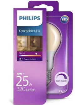 Philips LED Flame standaardlamp E27 6W (vervangt 25W) dimbaar