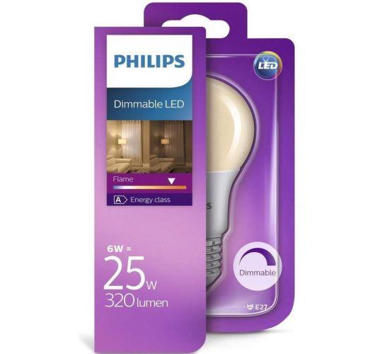 Philips LED Flame standaardlamp E27 6W (vervangt 25W) dimbaar Ledlampen