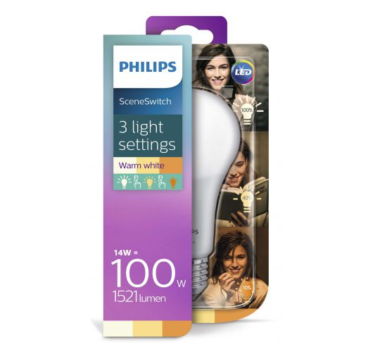 Philips SceneSwitch LED Bulb Mat | 14w = 100w | 3 Standen 100w/60w/40w LED-lampen