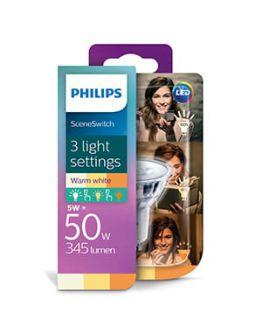 Philips SceneSwitch GU10 LED spot | 5w = 50w | 3 standen 50w/25w/10w | 2700K