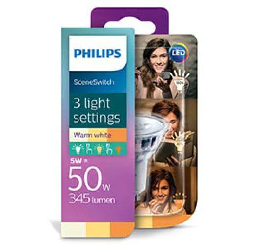 Philips SceneSwitch GU10 LED spot | 5w = 50w | 3 standen 50w/25w/10w | 2700K  Ledlampen
