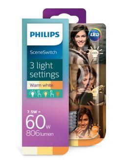 Philips SceneSwitch LED bulb Helder | 7.5w = 60w | 3 Standen 60w/40w/15w | 2700K