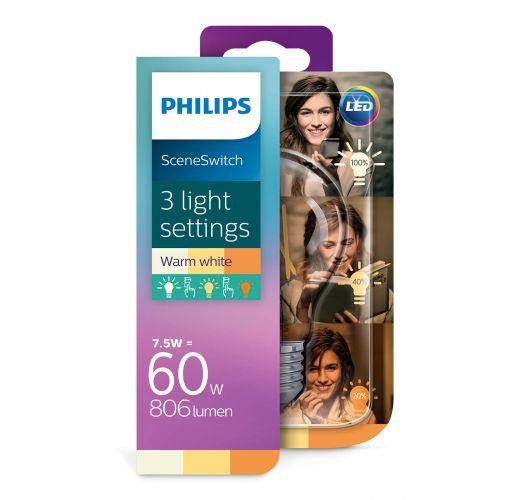 Philips SceneSwitch LED bulb Helder | 7.5w = 60w | 3 Standen 60w/40w/15w | 2700K LED-lampen