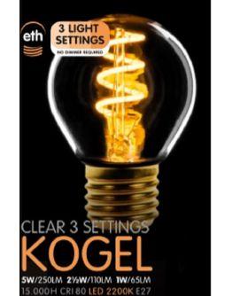 Led Spiraal Kogel Helder | 5W | E27 | 3 Stappen Dimbaar