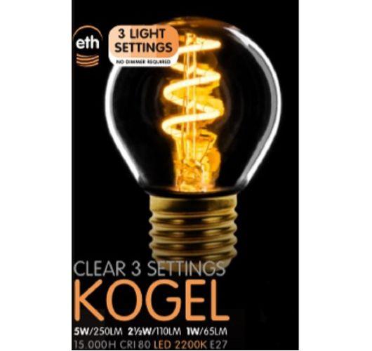 Led Spiraal Kogel Helder | 5W | E27 | 3 Stappen Dimbaar  Ledlampen