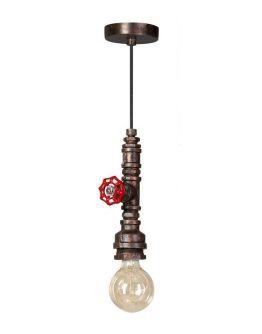 Fire Hose Hanglamp Vintage Bruin/Koper (Max. 60w)