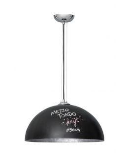 Mezzo Krijt Hanglamp Zwart(krijtverf) / Zilver 50 cm (max 60w)