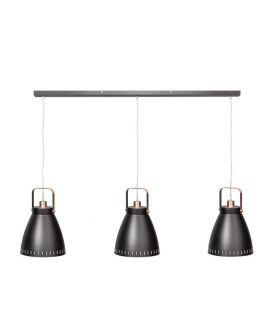 Acate Hanglamp Koper/Mat Zwart Balk 3 Lichtpunten (max. 60W)